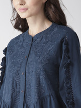 Navy Blue Cotton Linen Tonal Embroidered Tunic - $34.00