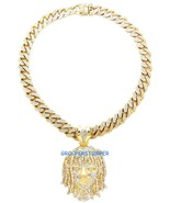 Esskeetit Pump Necklace Iced Out Pendant with 20 Inch Long Thick Cuban C... - $49.99