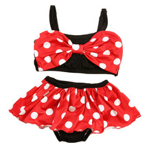 NEW Minnie Mouse Girls Red Polka Dot Bow Bikini Skirted Swimsuit 2T 3T 4... - $10.99
