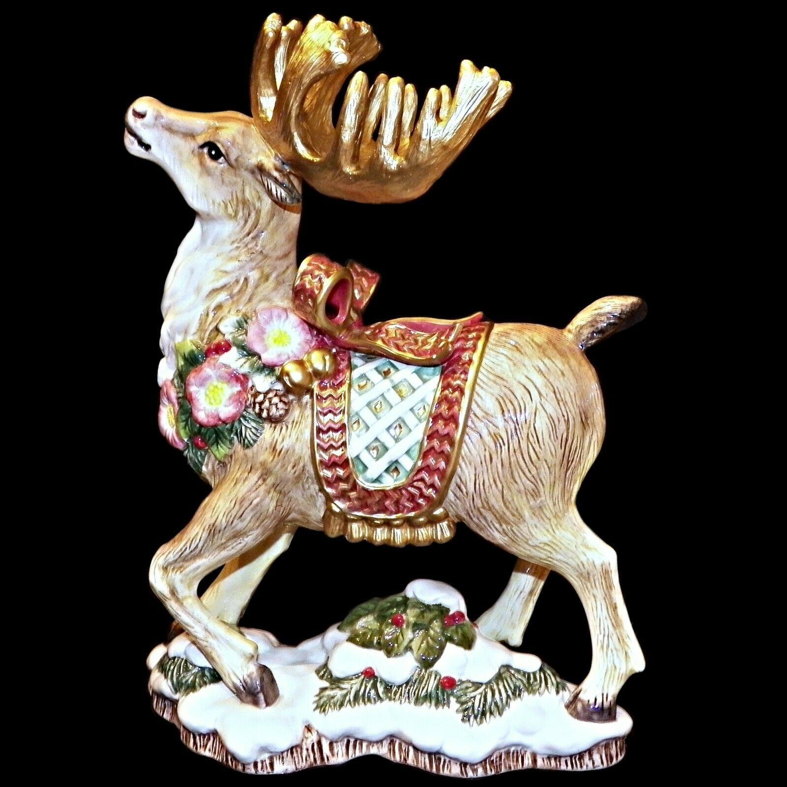 Primary image for Fitz And Floyd Classics 1996 Christmas Wreath Reindeer Candleholder Candle Stick