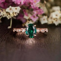 2.30Ct Oval Cut Green Emerald Solitaire Women's Engagement Ring 14K Rose... - $123.49