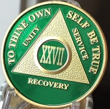 27 Year AA Medallion Green Gold Plated Alcoholics Anonymous Sobriety Chi... - $20.39