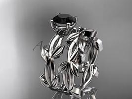 Platinum leaf, vine wedding set with a Black Diamond center stone ADLR522S - $2,150.00