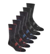 Puma Men's 6 Pack Sportstyle Crew Gym Mesh Ventilated Athletic Grey Socks image 2