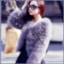 Long Sleeve Plush Long Hair Feather Ostrich Fur Short Waist or Hip Length Coat image 2
