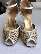 Euc Dolce & Gabbana Cream Snake Skin Ankle Strap Shoes Heels Sz 36 Made In Italy - $246.51