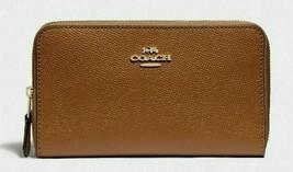 New Coach 87735 medium zip around wallet Crossgrain Leather Light Saddle - $64.00