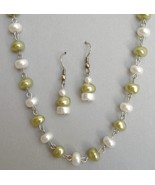 Necklace Earring Set Green White Pearl Bead Silver Metal Chain Handmade New - $65.00