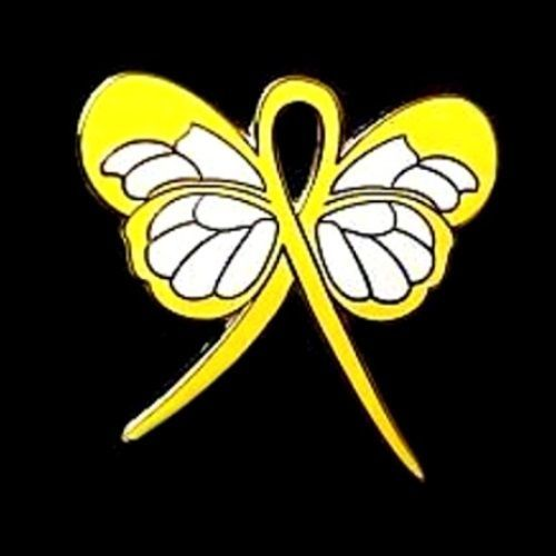 Yellow Awareness Ribbon Butterfly Pin Cancer Cause Support Inspirational New image 3