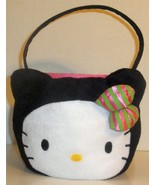 SANRIO HELLO KITTY BLACK PLUSH HALLOWEEN TRICK OR TREAT CANDY BASKET TOTE - $11.99