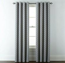 (1) JCPenney Liz Claiborne Quinn Lattice SKYLINE GRAY Grommet Curtain 50 x 84 - $68.59
