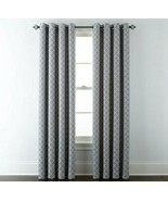 (1) JCPenney Liz Claiborne Quinn Lattice SKYLINE GRAY Grommet Curtain 50... - $68.59
