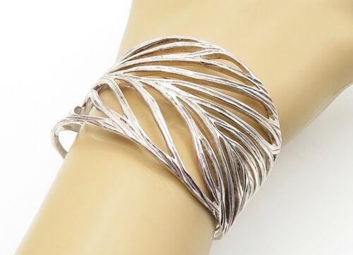 VEVA 925 Sterling Silver - Vintage Open Leaf Designed Wide Cuff Bracelet - B6316