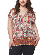 Paprika Geometric Button-Front Top - Plus By DEVOTED 1X New item - $14.99