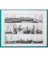 SHIPS Far East China Gondola Malay Java Coaster Canton View - 1844 Super... - $25.20