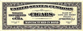 Series of 1953 Cigars United States Customs Bond Tobacco Imported Attren... - $14.99
