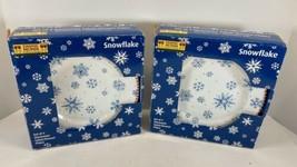 DEBBIE MUMM Blue Snowflake Salad Dessert Holiday Plates Winter Christmas... - $24.70