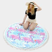 Round Beach Towel Aqua & Pink Flamingo Print Poncho with Tassel Trim 335731 - $31.01 CAD