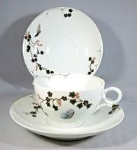 Haviland Limoges Cup & 2 Saucers Porcelain Butterfly & Ivy Smooth Edge V... - $8.50