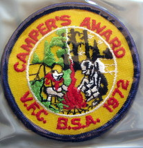 BOY SCOUT 1972 Campers Award, Valley Forge Council - $5.36