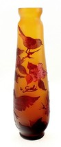 Cameo Glass Art Nouveau Vase with Birds 11-3/4 Inch Tall Signed Galle Tip - $154.24