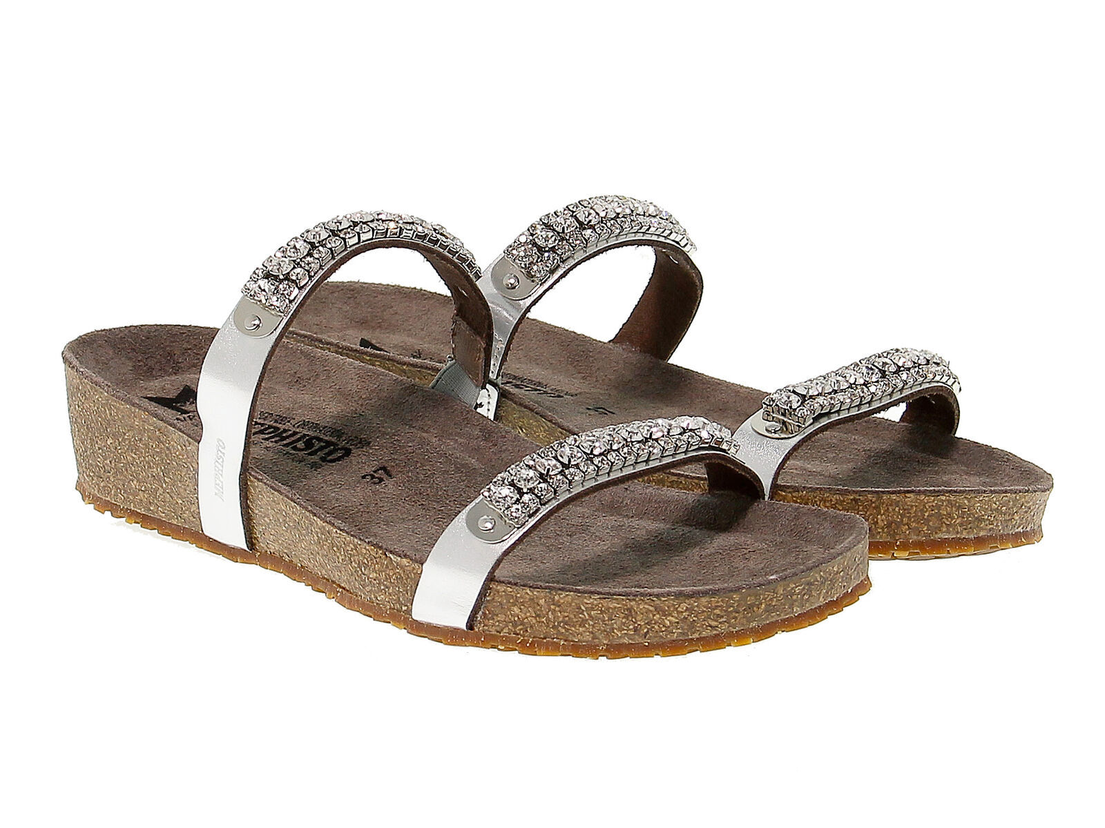 Sandalia plana MEPHISTO IVANA N de laminado nickel - Zapatos Mujer