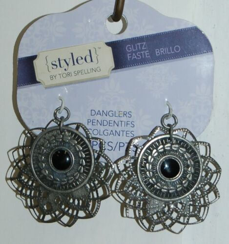 Styled Tori Spelling Glitz Antique Silver Medallions Danglers TSPD14