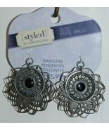 Styled Tori Spelling Glitz Antique Silver Medallions Danglers TSPD14 - $6.99
