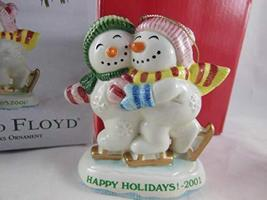 Fitz and Floyd 2001 Happy Holiday Frosty Folks Ornament - $16.82
