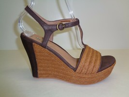 UGG Australia Size 10 FITCHIE Brown Leather Jute Wedge Sandals New Women... - $117.81