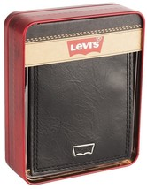 NEW LEVI'S MEN'S PREMIUM LEATHER CREDIT CARD ID WALLET BILLFOLD BLACK 31LV240001