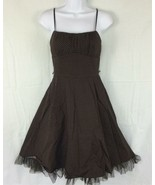 Ruby Rox Brown White Polka Dot Lined Retro Rockabilly Pin Up Dress Size XXS - $20.99