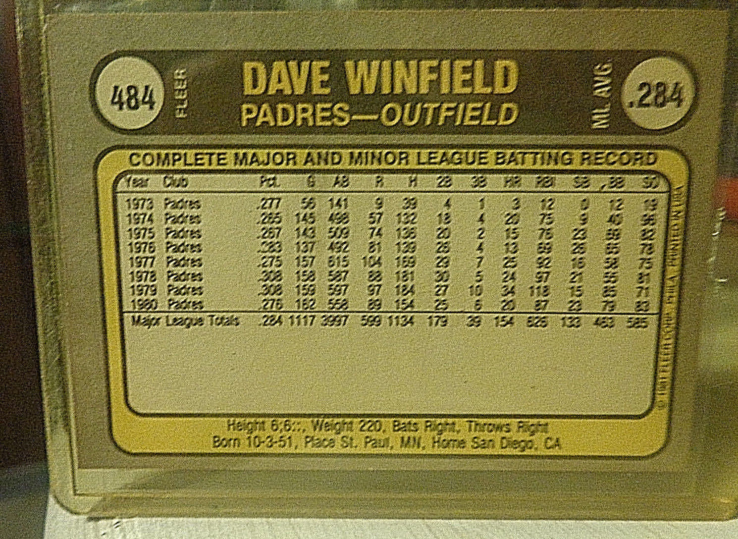 1981 FLEER BASEBALL CARD  # 484 DAVE WINFIELD  San Diego Padres  NM