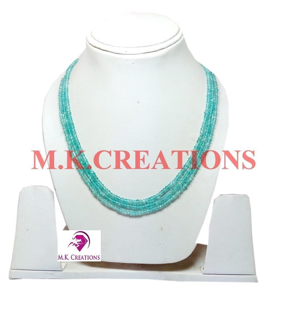 """3-4mm Rich Natural Apatite Beads 16"""" 3 strand Multi Layer Necklace Jewelry"""