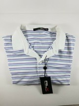 New with Tag MENS XLARGE RLX RALPH LAUREN White/Blue/Purple Stripes Polo... - $42.99