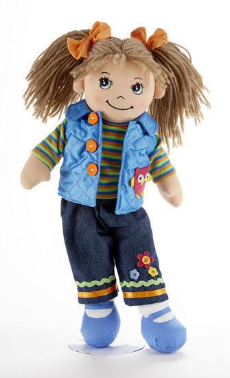 Image 1 of Brown Hair Apple Dumplin Doll, Blue Quilted Vest,Tee, Capri Pants, 14