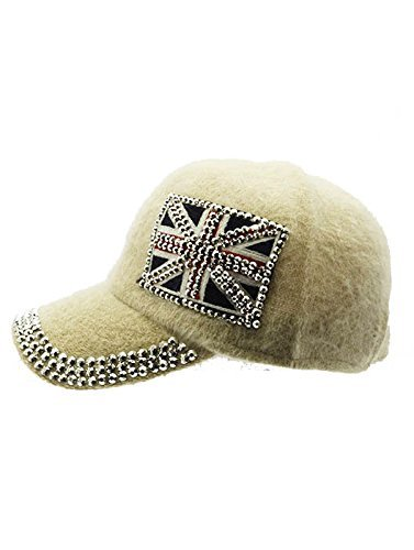 British Flag Soft Furry Hat Metallic Stud Bling Great Britain (Ivory)