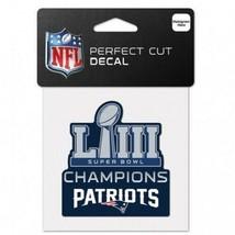 "New England Patriots Super Bowl LIII Champions 4""x4"" Prefect Cut Decal W... - $9.95"