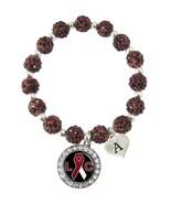 Custom Laryngeal Cancer Awareness Red Bling Bracelet Jewelry Choose Initial - $14.84+
