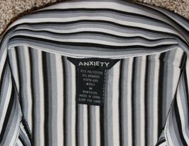ANXIETY BLACK WHITE GRAY STRIPE FITTED BLOUSE TOP BUTTON SHIRT CAREER  M S 6 image 4