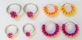 Set of 4 Sterling Silver endless HOOP EARRINGS with pink purple yellow o... - $19.79