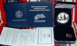2010w american veterans disabled for life commemorative proof silver $1 ... - $65.00
