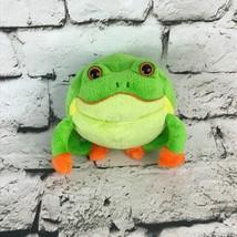 Goofballz Bull Frog Plush Green Round Stuffed Animal Soft Toy - $9.89