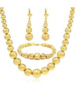 African Beads Earring/Necklace/Bracelet Sets 18K Gold Plated Ball Ethiop... - $16.89