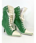 Anne Michelle Green Lace Up Sneaker Boot 8.5 Converse Look St Patrick's Day - $17.81
