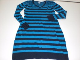 W13689 Womens OLD NAVY Blue/Turquoise Striped SWEATER DRESS Knit SMALL - $14.50