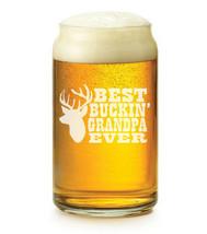 16 oz Beer Can Glass Best Buckin Grandpa Ever Grandfather Grandpa