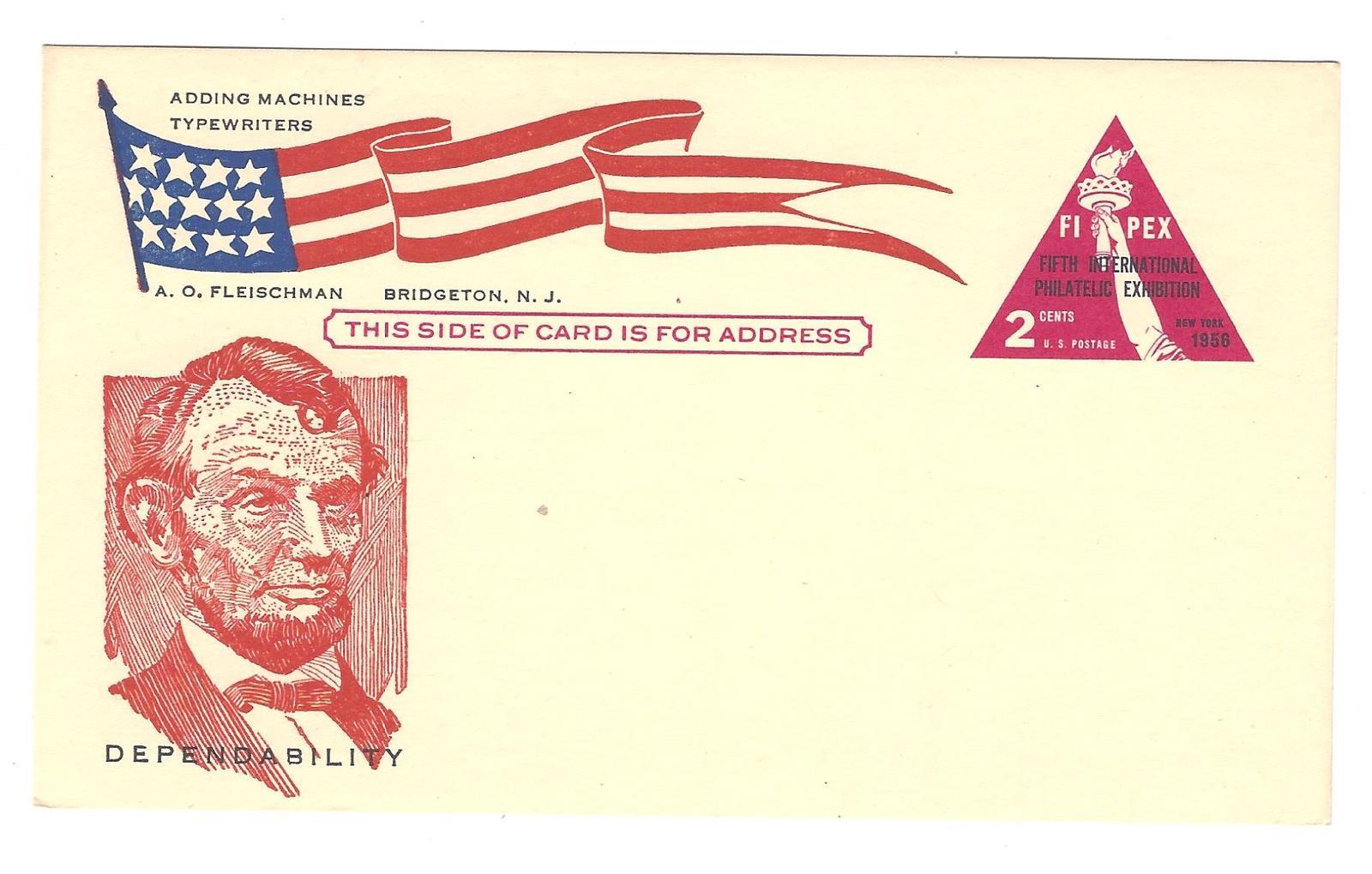 FIPEX Postal Card Lincoln Patriotic Cachet Fleischman Bridgeton NJ Advert UX44