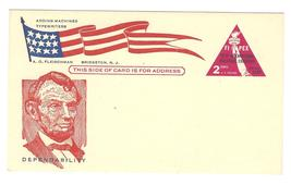 FIPEX Postal Card Lincoln Patriotic Cachet Fleischman Bridgeton NJ Adver... - $4.99