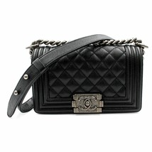 Chanel Black Caviar Leather & Ruthenium Finish Metal Small Boy Bag A67085 - $5,900.00